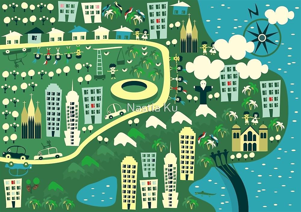 cartoon map of rio de janeiro by ychty