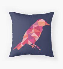 Geometric Bird - pink and orange Throw Pillow