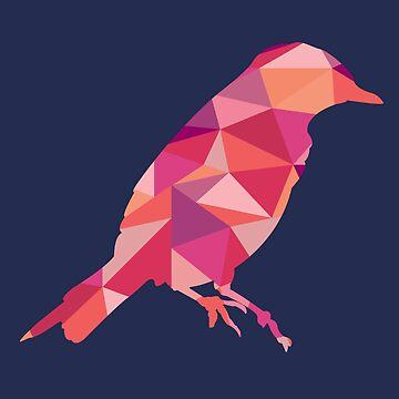 Geometric Bird - pink and orange by emfrazier96