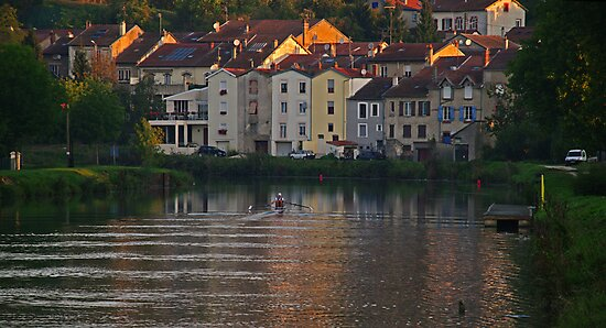 Morning Row #2 - Muese River, France by Paul Gilbert