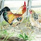 Rooster, Hen & Chicks by clotheslineart
