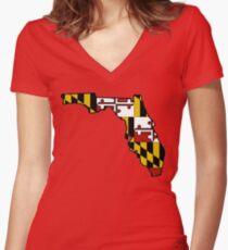 Florida outline Maryland flag Women's Fitted V-Neck T-Shirt