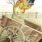 Rooster Perched on an Old Wagon by clotheslineart