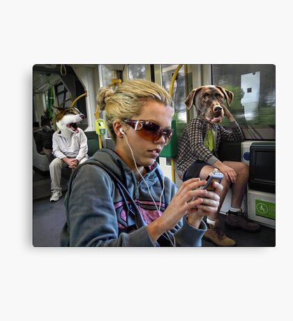 the strangeness of melbourne commuters Canvas Print