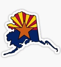 Alaska outline Arizona flag Sticker