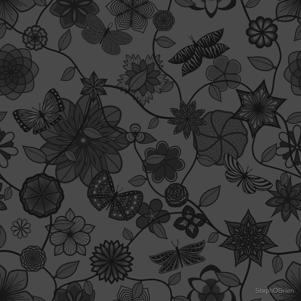 Butterfly Garden - Grey by StephOBrien