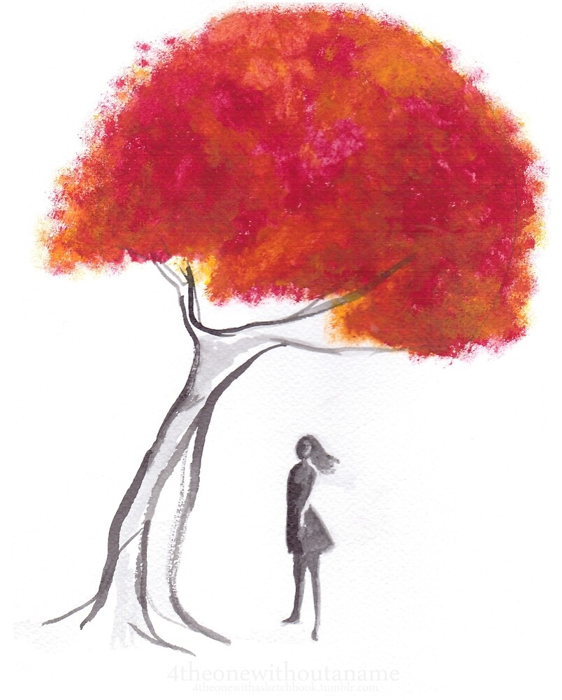 Girl Standing Under Autumn Tree by theonewithaname