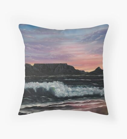Sunset over Cape Town - Oil Painting Throw Pillow