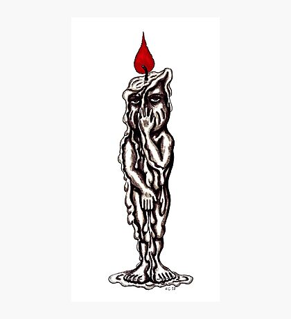 Candle Man surreal black and white pen ink drawing Photographic Print