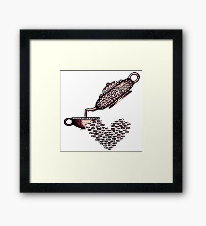 Cup of Heart surreal black and white pen ink drawing Framed Print