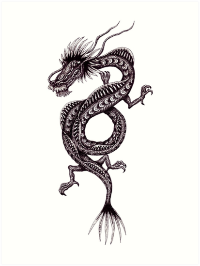Chinese Dragon black and white pen ink drawing by Vitaliy Gonikman