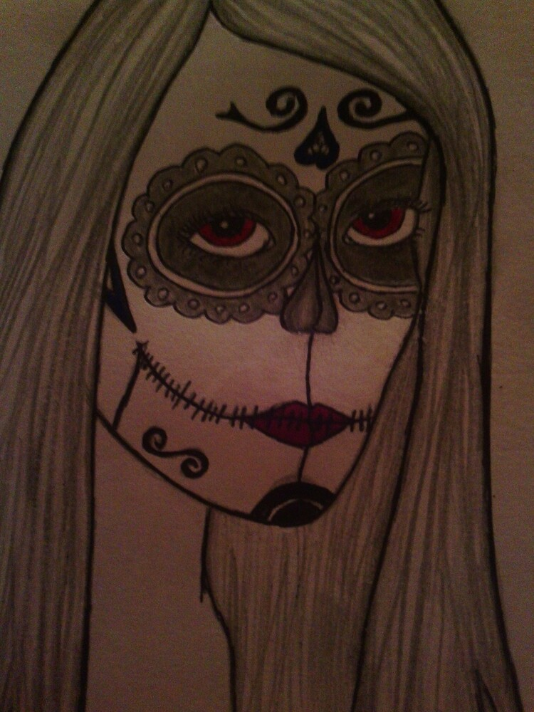 Mexican skull drawing by Trolley123