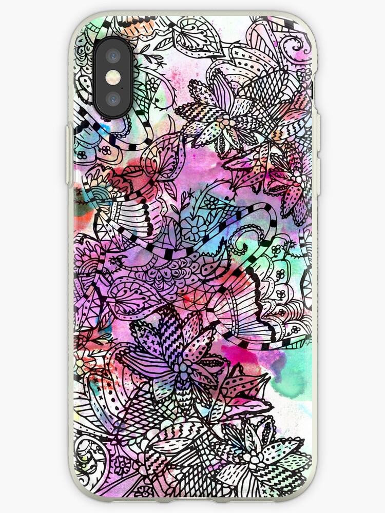 Modern colorful watercolor tangle floral pattern  by Maria Fernandes