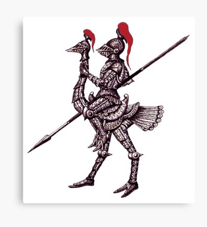 Knight on Ostrich surreal black and white pen ink drawing Canvas Print