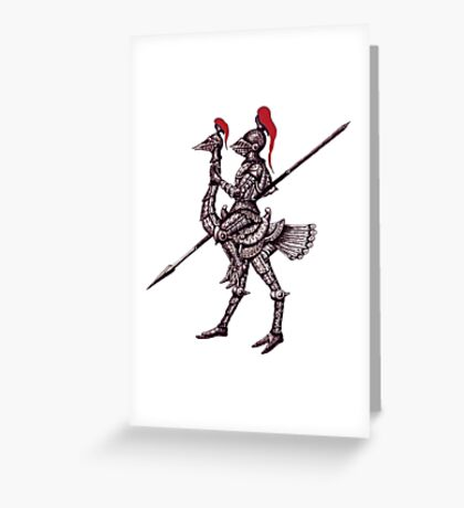 Knight on Ostrich surreal black and white pen ink drawing Greeting Card