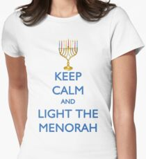 HANUKKAH - KEEP CALM AND LIGHT THE MENORAH Women's Fitted T-Shirt