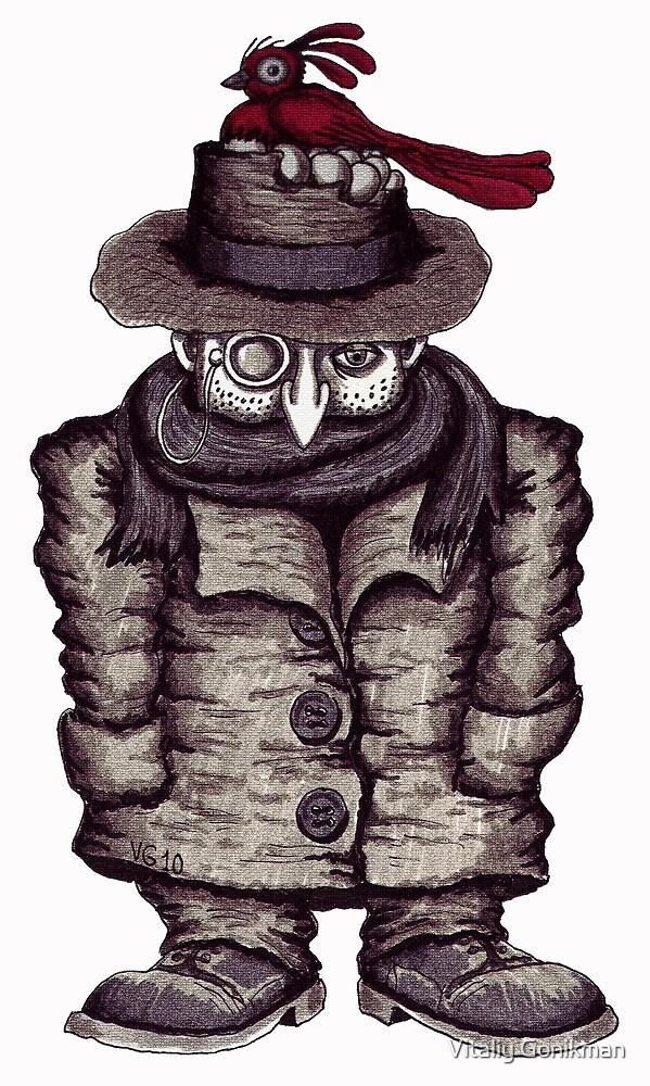 Poet surreal black and white pen ink drawing by Vitaliy Gonikman