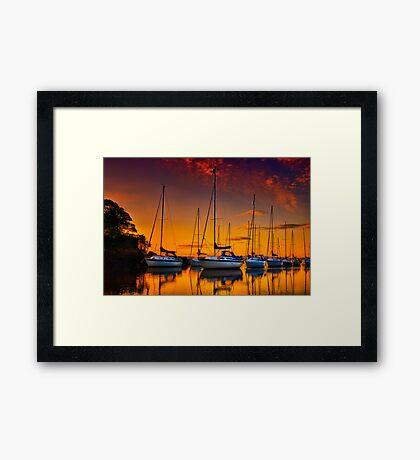 Cramond Harbour Sunset Framed Print