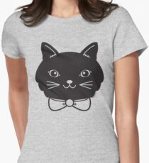 Cool Black Kitty Cat Face Women's Fitted T-Shirt