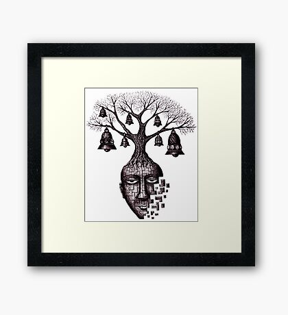 Inner World surreal black and white pen ink drawing Framed Print