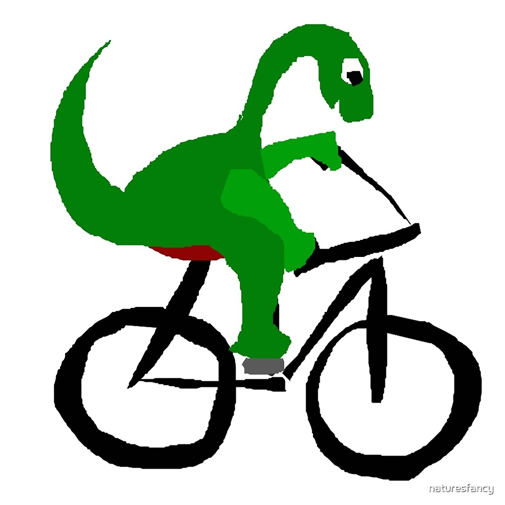 Funny Green Brontosaurus Dinosaur Riding Bicycle by naturesfancy