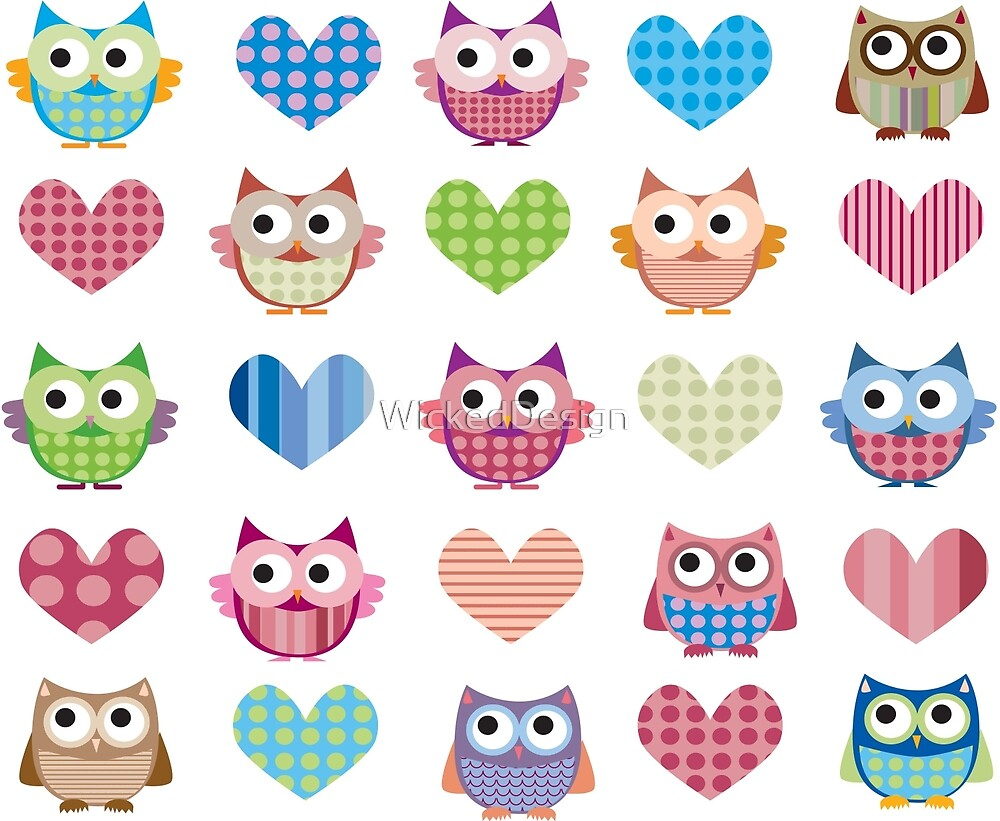 Owls & Hearts by WickedDesign