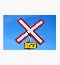 Railroad crossing sign. Photographic Print