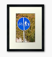Pedestrian and bicycle crossing sign. Framed Print