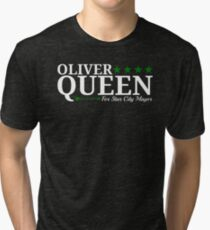Oliver Queen For Star City Mayor  - Green Arrow Design Tri-blend T-Shirt