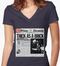 Thick As A Brick Women's Fitted V-Neck T-Shirt