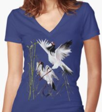 Two Cranes In Bamboo Women's Fitted V-Neck T-Shirt