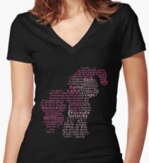 My Little Pony - Pinkie Pie Typography Women's Fitted V-Neck T-Shirt
