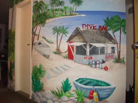 "Mural of Beachside ""Dive Bar"" by nancy salamouny"