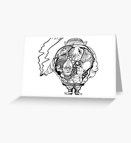 Leader surreal black and white pen ink drawing Greeting Card