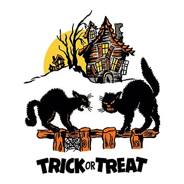 Vintage Halloween Black Cats Trick or Treat  by 91design