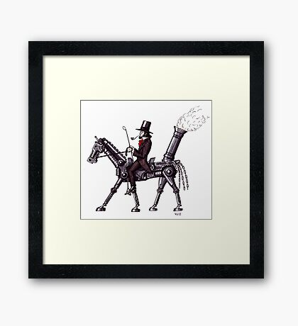 Steam Metal Horse surreal black and white pen ink drawing  Framed Print
