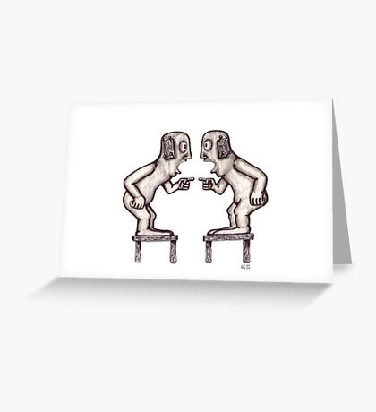 Argument surreal black and white pen ink drawing Greeting Card