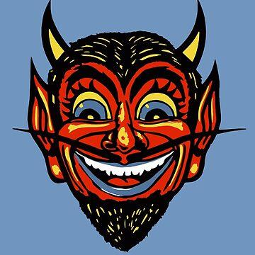 Vintage Halloween Red Devil Head  by 91design