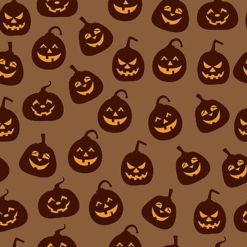 Funny and Scary Brown Halloween Pumpkins Pattern by 91design