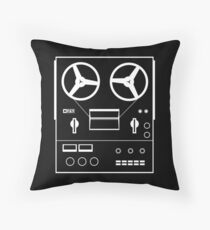 reel tape recorder - white Throw Pillow