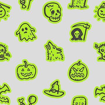 Hand Drawn Halloween Pattern Grey on Green  by 91design