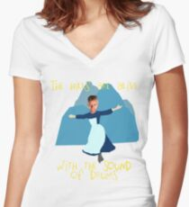 Hills are alive with the Sound of Drums Women's Fitted V-Neck T-Shirt