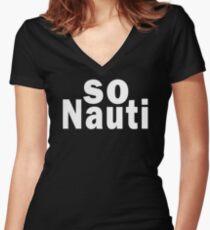 SO NAUTI Women's Fitted V-Neck T-Shirt