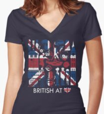 British @ Heart Women's Fitted V-Neck T-Shirt