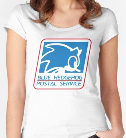 BLUE HEDGEHOG POSTAL SERVICE Women's Fitted Scoop T-Shirt