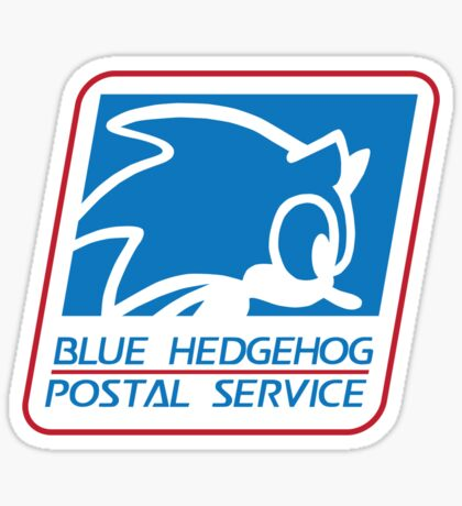 BLUE HEDGEHOG POSTAL SERVICE Sticker