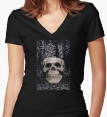 Skull with a Fezz Women's Fitted V-Neck T-Shirt