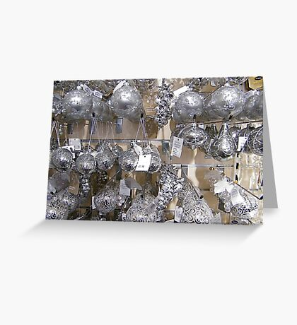 Silver Baubles Greeting Card