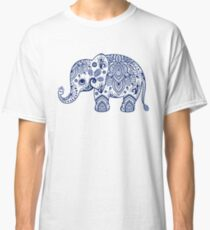 Blue Floral Elephant Illustration Classic T-Shirt