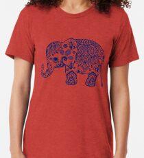 Blue Floral Elephant Illustration Tri-blend T-Shirt